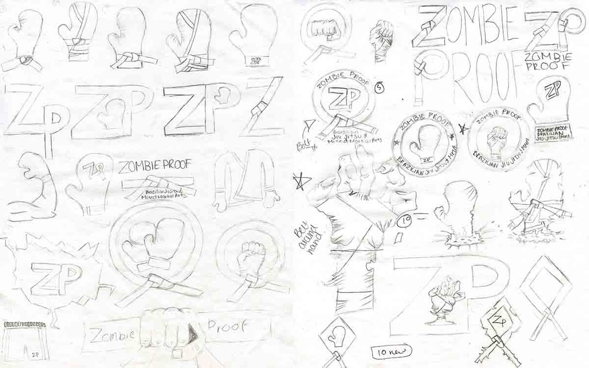 zombieproof logo sketches